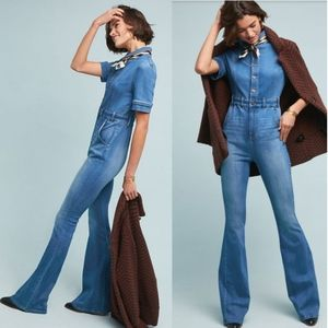 Ella Moss Collarded Short Sleeve Denim Jumpsuit